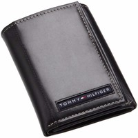 Bóp da Tommy Hilfiger Men Leather Cambridge Trifold Wallet - Black