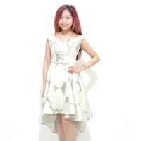 Đầm xòe gấm họa tiết