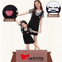 MTL - Set Mẹ và Bé: Đầm yếm kèm áo thun