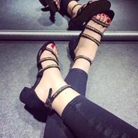 HÀNG LOẠI I - Giày sandal đế vuông cá tính