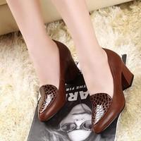 Giày gót vuông phối vân cá - LN232