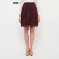 Chân váy Chiffon xếp ly dáng ngắn màu 18 Wine hãng Uniqlo Nhật