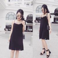 Đầm dây voan đen thiết kế