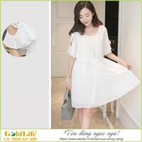 Váy voan 2 lớp ngang gối ngắn tay kiểu Hàn Quốc GLV001