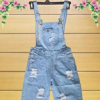 Quần Yếm Jeans Wash Rách