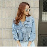 Áo khoác jeans phom rộng phối bo MS-2126