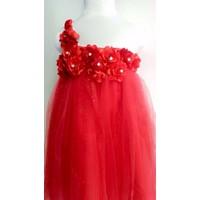 Đầm công chúa lệch vai đỏ