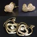Set 2 cặp bông tai và 1 nhẫn trái tim đính kim cương cao cấp