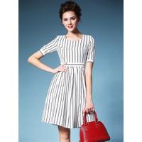 Đầm công sở sọc linen