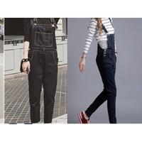Quần yếm jean dài đen trơn YD10