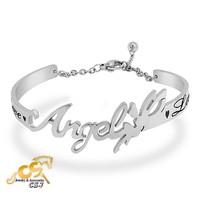 Vòng tay inox nữ kiểu hở chữ Angel - trang sức titan