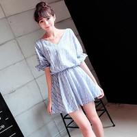 Đầm váy xòe in dập hoa nhí nổi bật,nữ tính-D2989