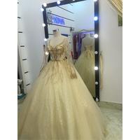 áo cưới nude tay dài ren lấp lánh sang trọng