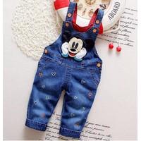 Quần yếm jean  trẻ em  phom dài Mickey