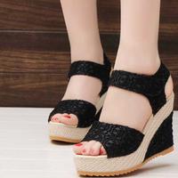 Giày Sandal Đế xuồng Phối Ren