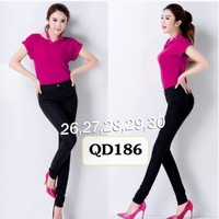 Quần jean đen lưng cao 1 nút 2 túi QD186