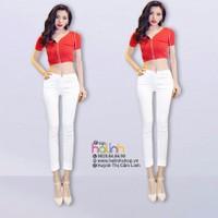 Quần jean trắng lưng cao
