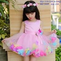 Đầm hồng kết hoa cực xinh cho bé