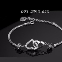 Vòng đeo tay trái tim đôi - đá Thạch Anh - BH008