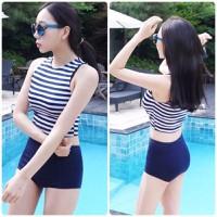 Set bikini áo yếm kẻ sọc,quần short trẻ trung năng động-DB043