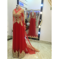 áo dài luoi đỏ ren vàng hàng co sẵn
