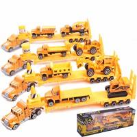 Bộ xe đầu kéo oto công trường màu vàng