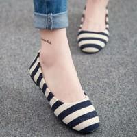 Giày búp bê sọc ngang xinh xắn - LN337