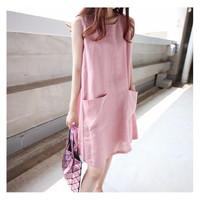 Đầm suông 2 túi trước db11