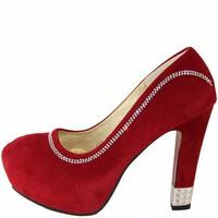 Giày Cao Gót Nữ Da Lộn Trơn Đính Đá Đế Đúp Đế Gót Vuông Cao 13cm