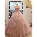 áo cưới hồng pastel đuôi dài 1m