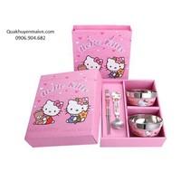 Bộ bát đũa inox hoạt hình cho bé - hello kitty, doremon, gấu Pooh