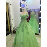 áo cưới xanh cốm tay ngang phale lung linh xx