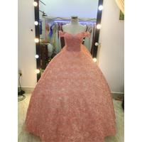 áo cưới cam dâu tay ngang hoa thêu