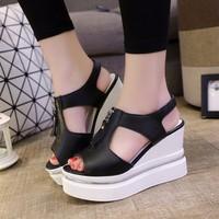 Giày Sandal nữ đế xuồng khóa kéo thời trang Hàn Quốc - SG0296