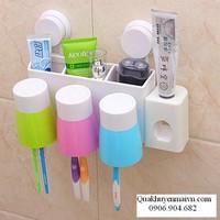 Bộ nhả kem đánh răng tự động, kẹp bàn chải và 3 cốc