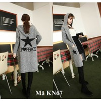Áo khoác len cardigan nữ có mũ KN67