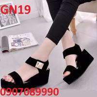 Giày sandal phối kim loại màu đen xinh xinh - GN19