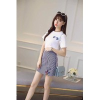 HÀNG NHẬP CAO CẤP - Sét áo thun kute + chân váy sọc