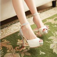 Giày cao gót hở mũi kim tuyến cao cấp - LN292