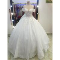áo cưới tay ngang tùng múi phồng trắng hồng đủ màu