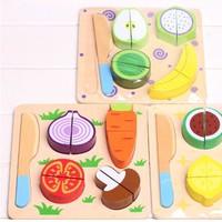 Bộ đồ chơi nhà bếp cắt hoa quả bằng gỗ an toàn cho bé