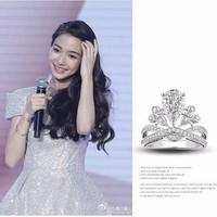 Nhẫn nữ vương miện công chúa cao quý xinh đẹp bạc