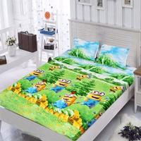 Bộ ga giường cotton minion màu xanh