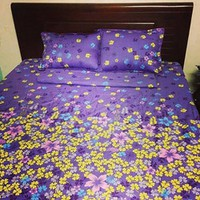 Bộ ga giường cotton tím nhí