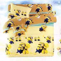 Bộ ga giường cotton minion màu vàng
