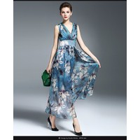 Hàng Nhập -Đầm maxi voan hoa cao cấp