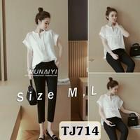 Set nguyên bộ áo form rộng cổ trụ tay phối ren quần dài TJ714
