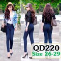 Quần jean lưng cao 1 nút phối 2 túi đen QD220