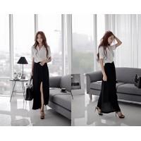 Đầm maxi áo voan trắng mỏng liền váy dài xẻ gợi cảm,duyên dáng-D2713