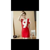 set váy yếm đỏ phối áo thun